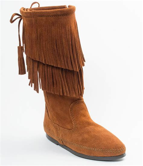 fridge boots minnetonka calf hi 2 layer fringe boots in brown lyst
