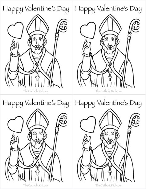 coloring page of st valentine catholic valentine s day cards to color thecatholickid com