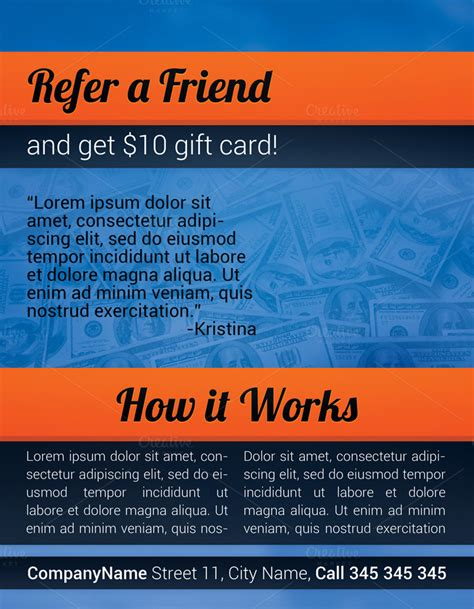 referral flyer template refer a friend flyer flyer templates on creative market
