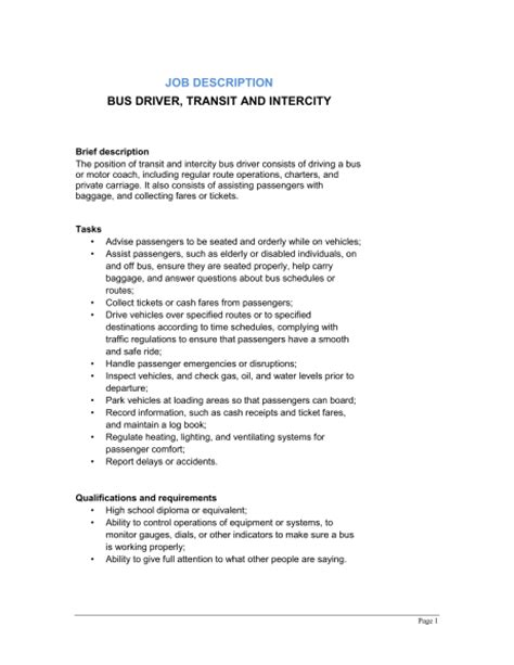 driver transit and intercity description template sle form biztree