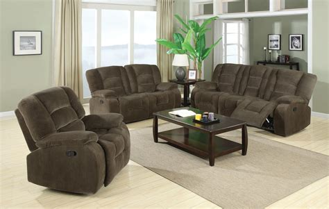 brown reclining living room set from coaster