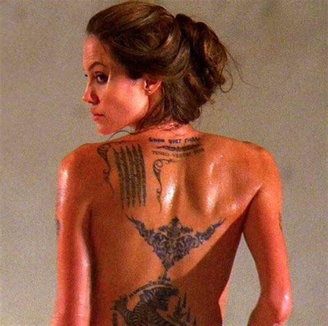 angelina jolie line tattoo 15 famous celebrity tattoos their stories