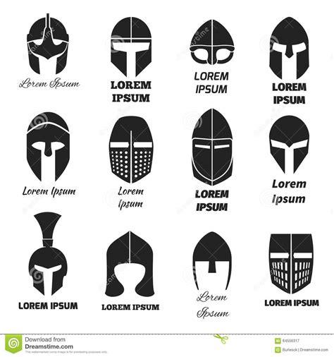 centurion boats logo vector warrior helmets black vector icons or logos set stock