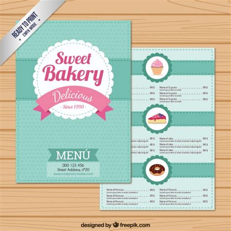 sweet bakery menu template vector free download