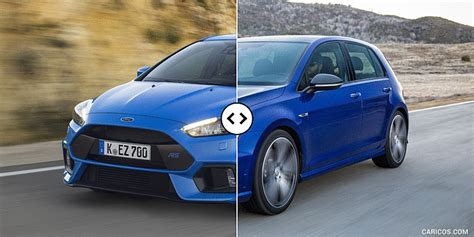 Golf R Comparison by Ford Focus Rs Vs Vw Golf R Front Three Quarter