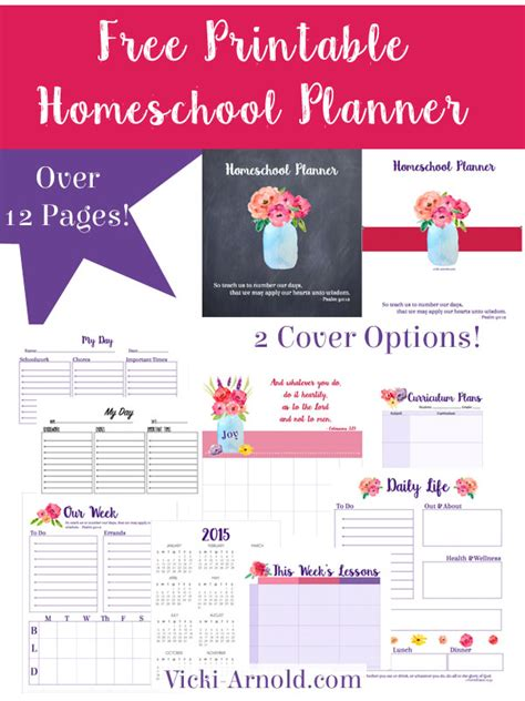 free printable homeschool planner pages free homeschool planner with 2 cover options free