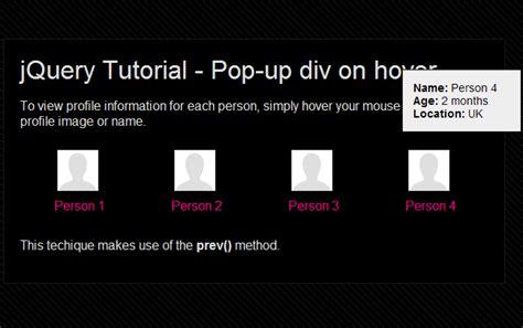 tutorial jquery animate create multiple pop up divs using the jquery prev method
