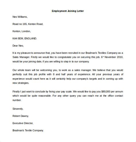 Confirmation Letter For Joining Free Employment Letter Template 28 Free Word Pdf Documents Free Premium Templates