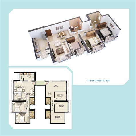 2 5 bhk floor plan whispering towers hdil