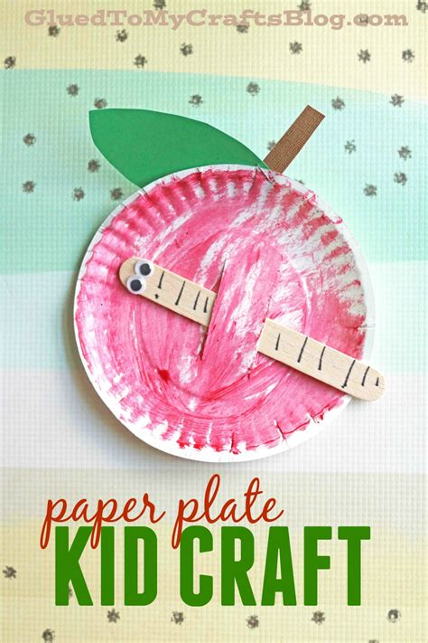 Paper Plate Apple Craft - paper plate apple w worm kid craft apples