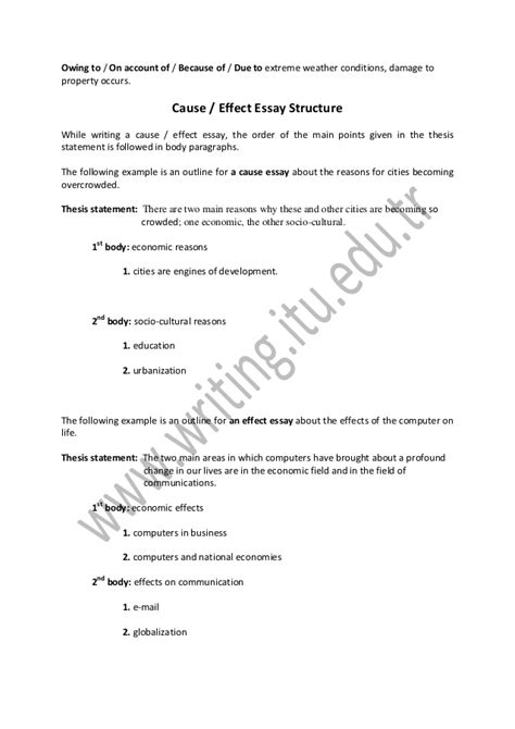 Cause And Effect Essay Fast Food by Cause Effect Essay Outline