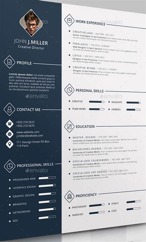 Resume Design Templates Psd 25 Professional Psd Resume Templates 2015