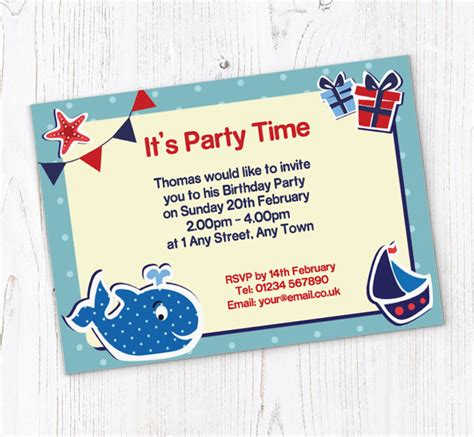 party boat online free whale and boat party invitations customise online plus