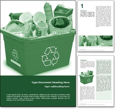 recycle word template in green