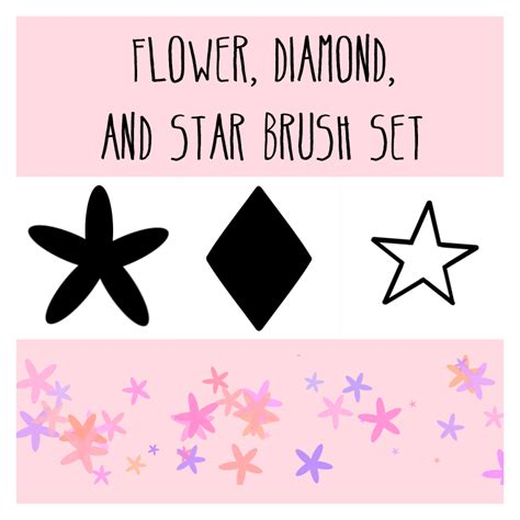 pattern brush medibang flower diamond and star scatter brushes by tinkalila on