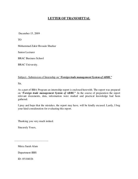 Finance Handover Letter Internship Report On Foreign Trade Division Of Ab Bank