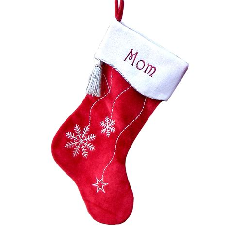 unique christmas stockings personalized christmas stockings snowflake bling red by