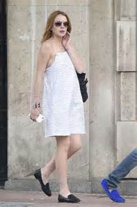 Lindsay Lohan In A White Dress by Lindsay Lohan In White Dress Out In Madrid