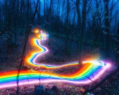 Rainbow Road exposure photography of rainbow road illuminated