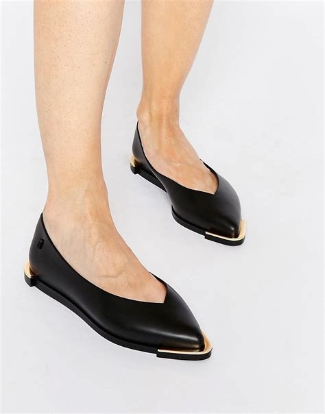 spice pointed black flat shoes at asos