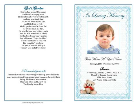 funeral programs template create funeral program template free programs utilities