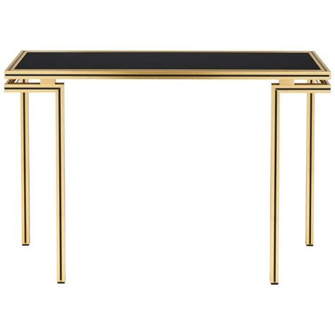 Brass Console Table Vintage Black Glass Top Brass Console Table By Vandel At 1stdibs