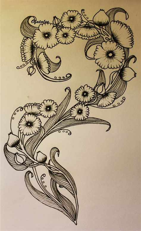 art deco tattoo image result for nouveau flower deco