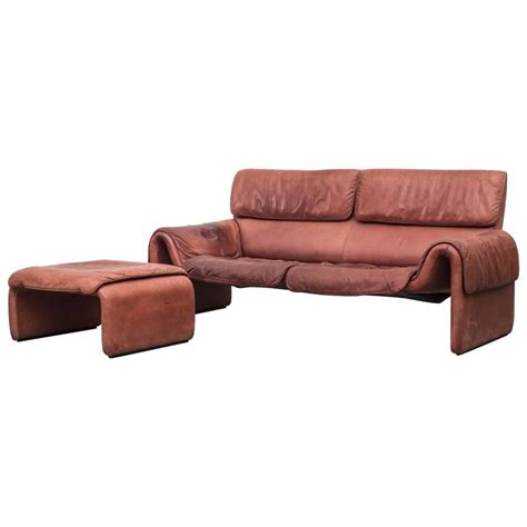 Desede Sofa by Desede Style Salmon Leather Sofa And Ottoman For Sale At