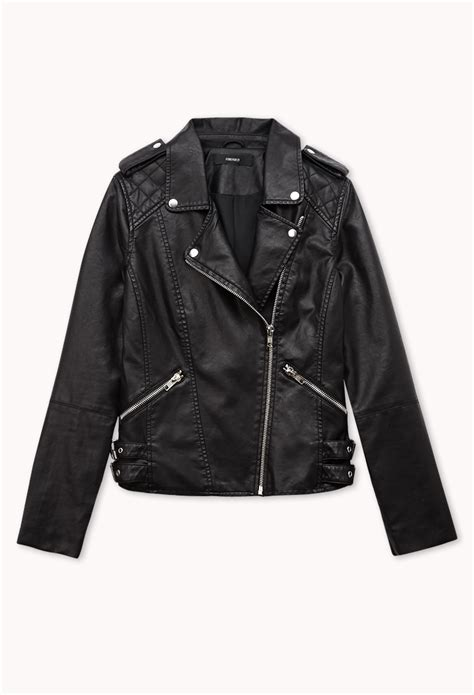 Leather Jaket Black Ariel lyst forever 21 moto faux leather jacket in black