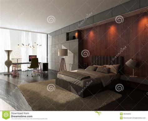 impressionante Camera Da Letto Con Parete In Pietra #1: interno-della-camera-da-letto-di-progettazione-moderna-con-la-parete-di-legno-e-di-pietra-36432832.jpg