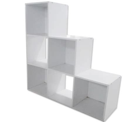 white display shelf with 6 cube compartments book shelf