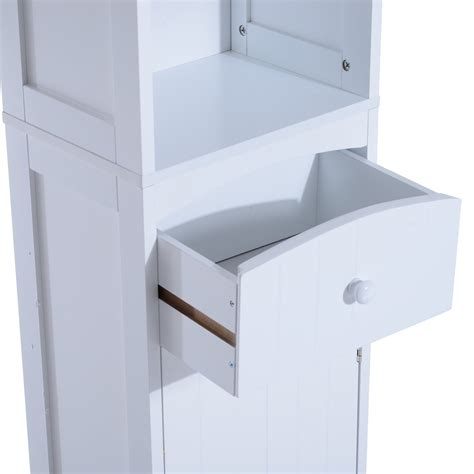 Bathroom Counter Storage Tower Homcom Wooden Bathroom Cabinet Linen Tower Bath Storage Unit Space Saver Bathroom Cabinet