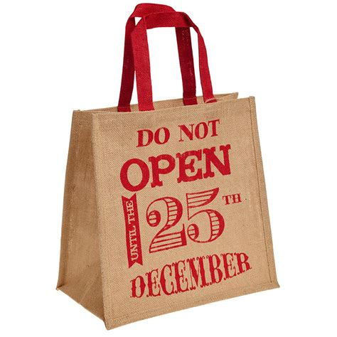 do not open until 25th december hessian christmas bag for