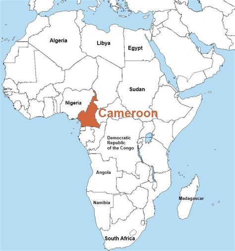 yaounde africa map the cameroon map in the africa continent its is located
