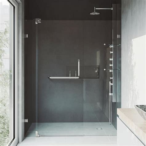 Shower Glass Doors Lowes Shop Vigo 54 In To 60 In Frameless Pivot Shower Door At Lowes