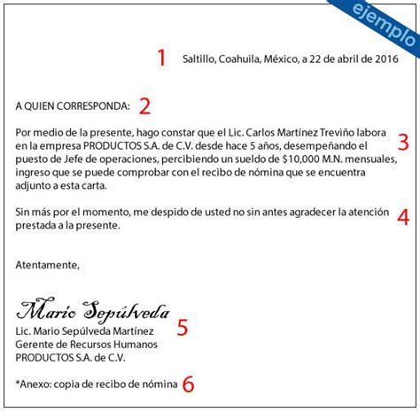 modelo carta de ingresos ejemplos de carta de comprobante de ingresos