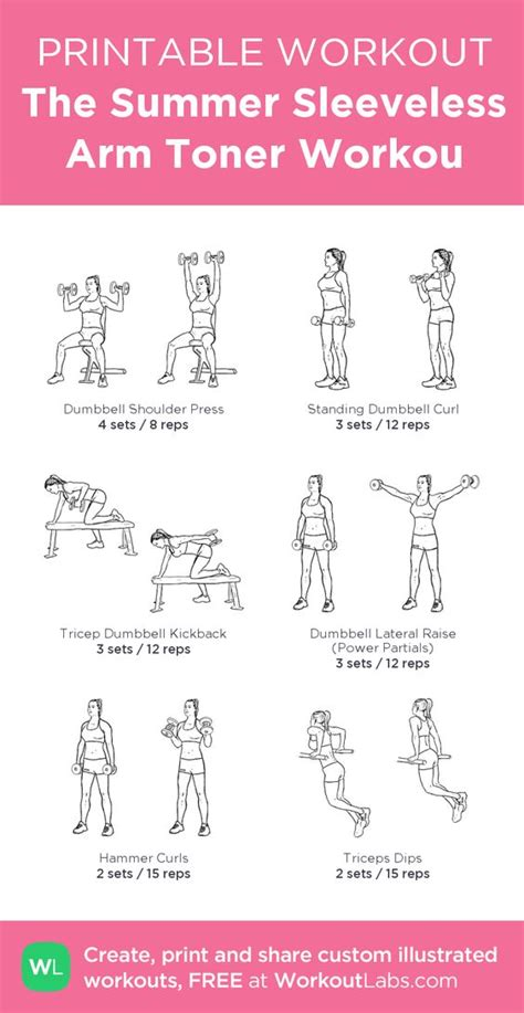 printable exercise routines for weight loss printable workout the summer sleeveless arm toner workout