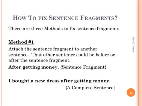how to be on fixer sentence fragments by sohail ahmed