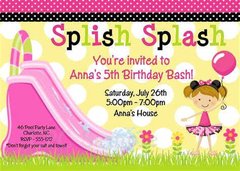 free printable birthday invitations water 5 best images of water slide party invitation templates