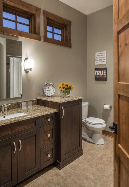 rustic modern lake house transitional bathroom omaha  core concepts cabinets design