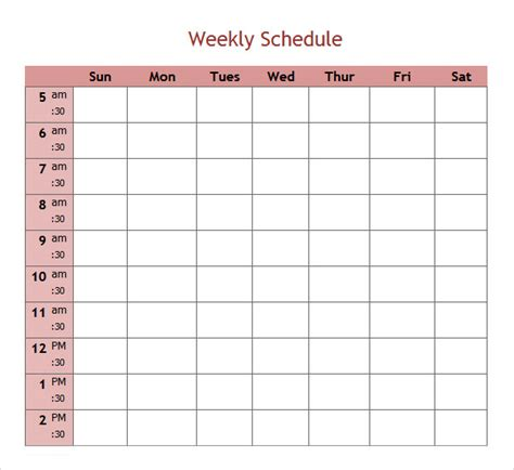 microsoft excel weekly schedule template sle weekend schedule 6 documents in word pdf