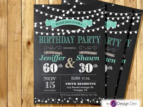 printable joint birthday party invitations adult joint birthday invitation string light