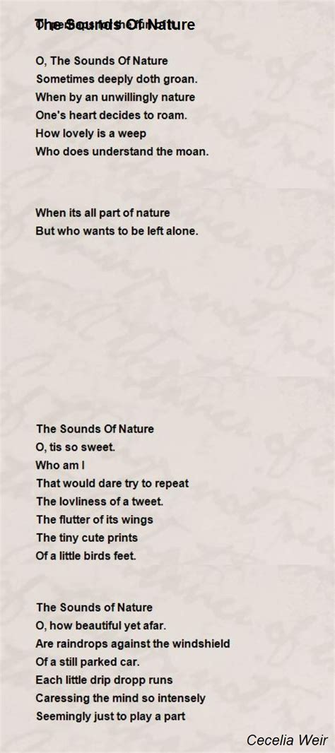 sounds  nature poem  cecelia weir poem hunter