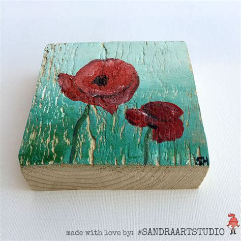 acrylic paint on wood painting on wood poppies on wood acrylic paint