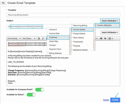 creating email templates how do i setup custom email templates for my invoices