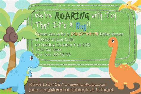 Dinosaur Baby Shower Invitation Dinosaur Baby Shower Invitation Template