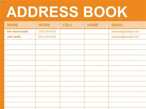 address book template word free excel template personal address book business