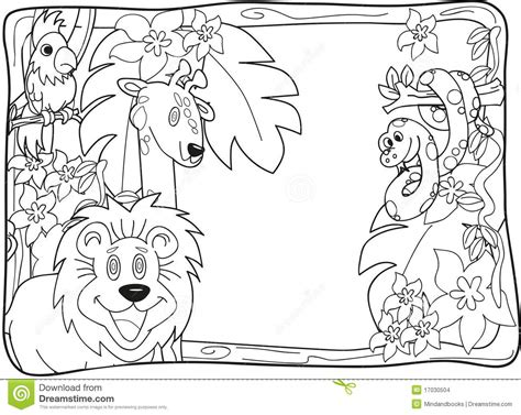 coloring page jungle jungle invitation lineart stock images 1239