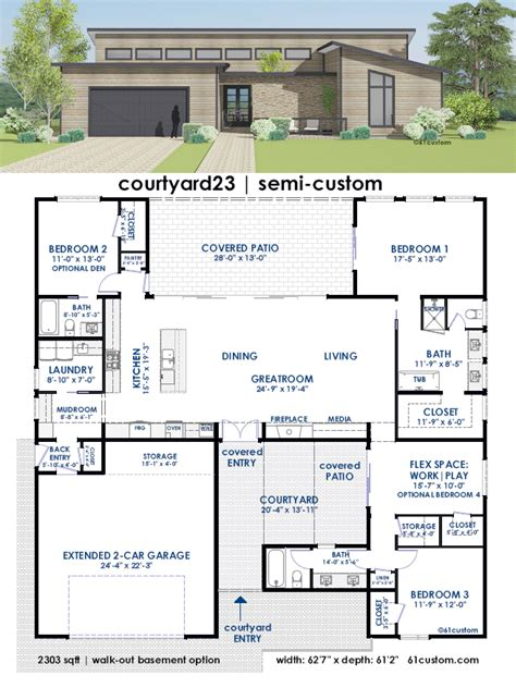 contemporary courtyard house plan 61custom courtyard23 semi custom home plan 61custom contemporary modern house plans
