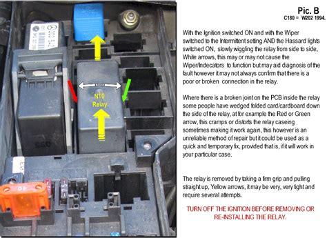 repair windshield wipe control 1998 mercedes benz c class user handbook n10 relay soldering repair wiper indicators hazards rear window demister mercedes